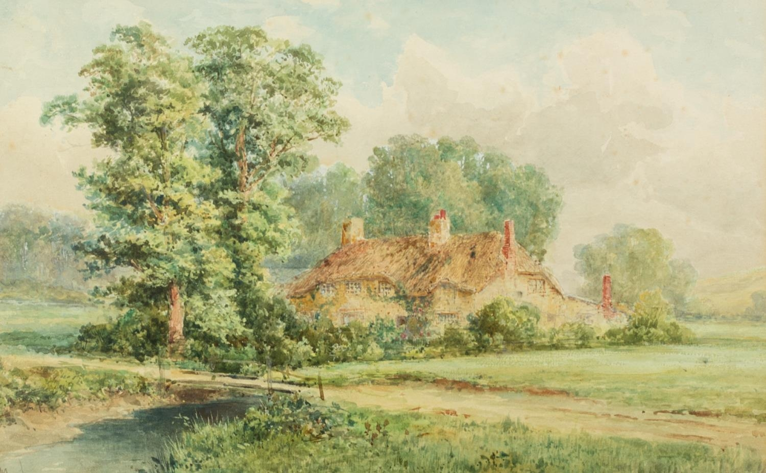 M. GROUSE (early 20th Century) WATERCOLOUR DRAWING A county scene with thatched cottage Signed lower