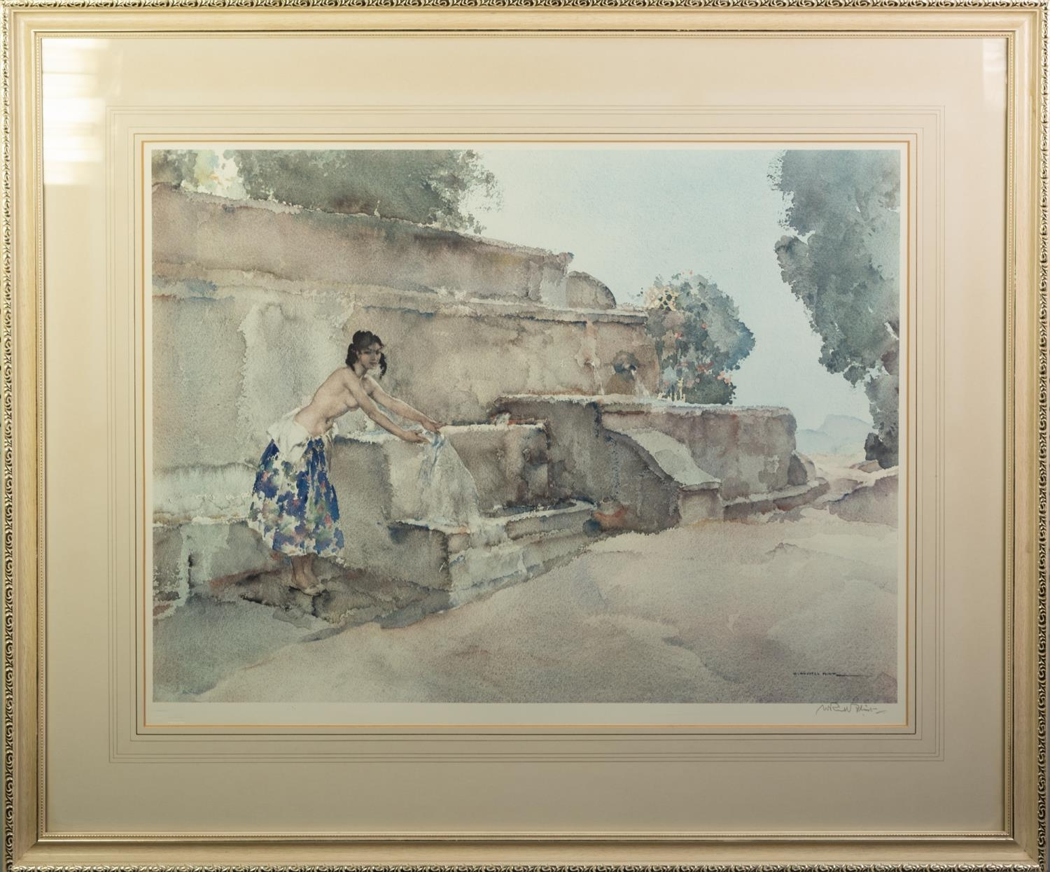W. RUSSELL FLINT ARTIST SIGNED COLOUR PRINT Semi-clad female figure at a washing well Guild blind - Image 2 of 6