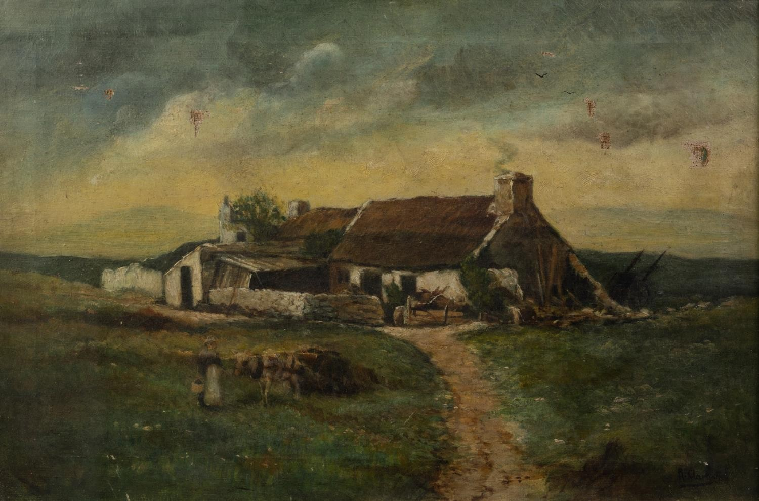 UNATTRIBUTED (NINETEENTH CENTURY) OIL PAINTING Rural landscape with farm building and a maid with - Image 4 of 4