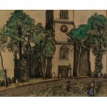 UNATTRIBUTED (EARLY TWENTIETH CENTURY) WATERCOLOUR Figures outside a church Unsigned 10 ½? x 13? (