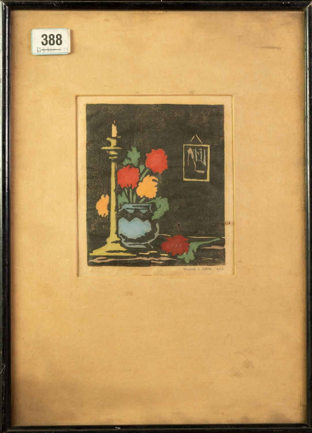 MURIAL A. NOBLE HAND COLOURED WOODBLOCK PRINT Still life with flowers in a vase Signed and dated - Image 2 of 2