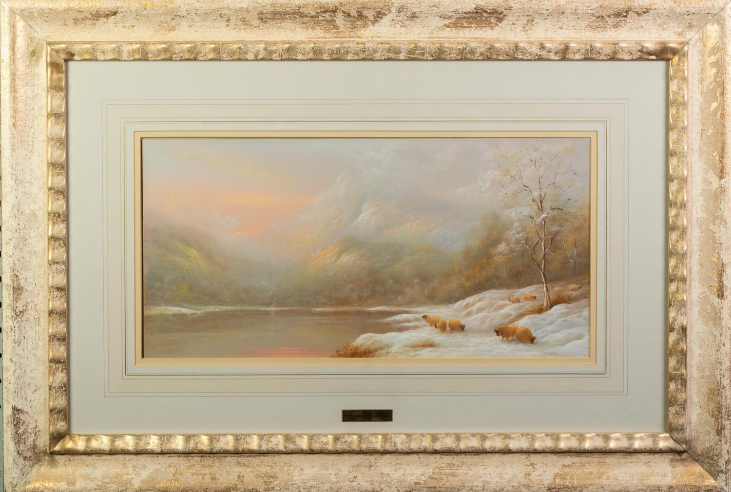 RAYMOND GILRONAN (b. 1950) OIL ON BOARD A Scottish loch in winter with grazing sheep Signed lower - Image 2 of 2