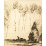 MALCOLM OSBORNE R.A. (1880-1963) ETCHING 'Avignon' Signed in pencil, titled on Gallery label
