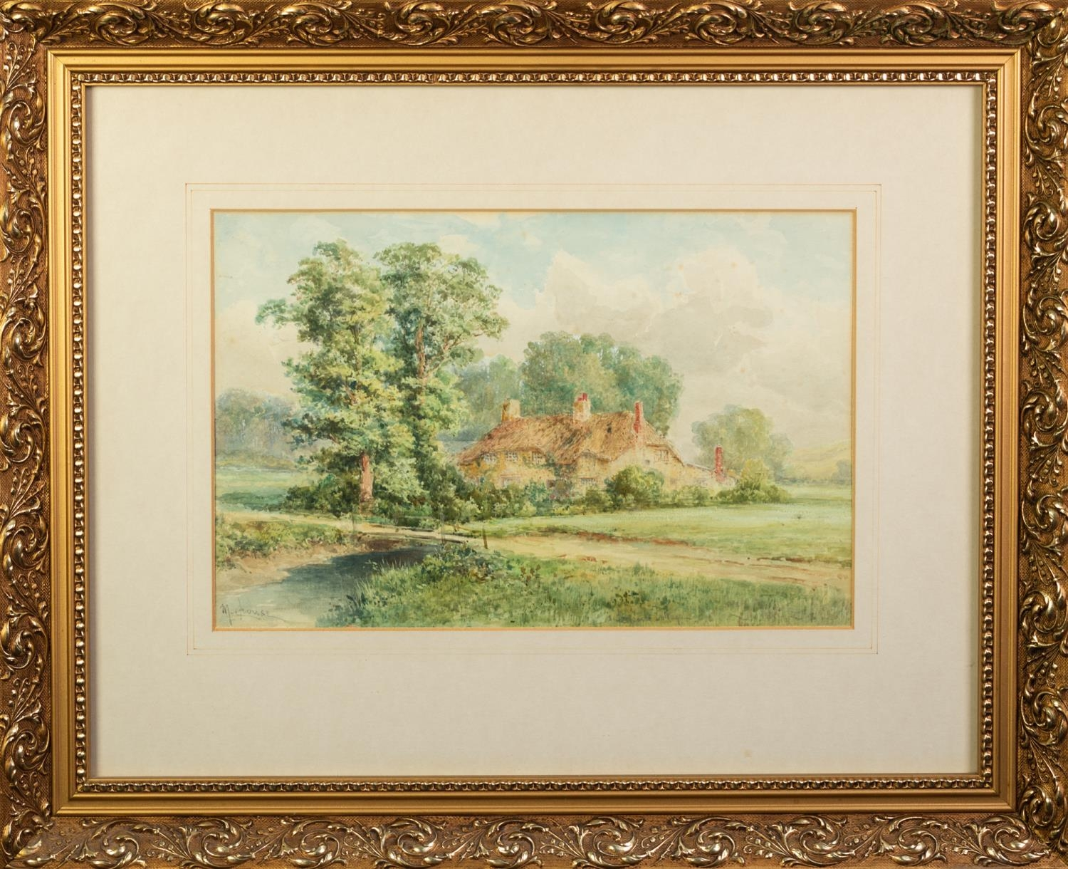 M. GROUSE (early 20th Century) WATERCOLOUR DRAWING A county scene with thatched cottage Signed lower - Image 2 of 2