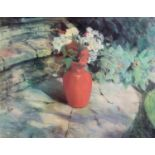 JACKIE SIMMONDS (b.1944) PASTEL DRAWING ?The Red Vase? Signed, tilted to artist label verso 14 ½?