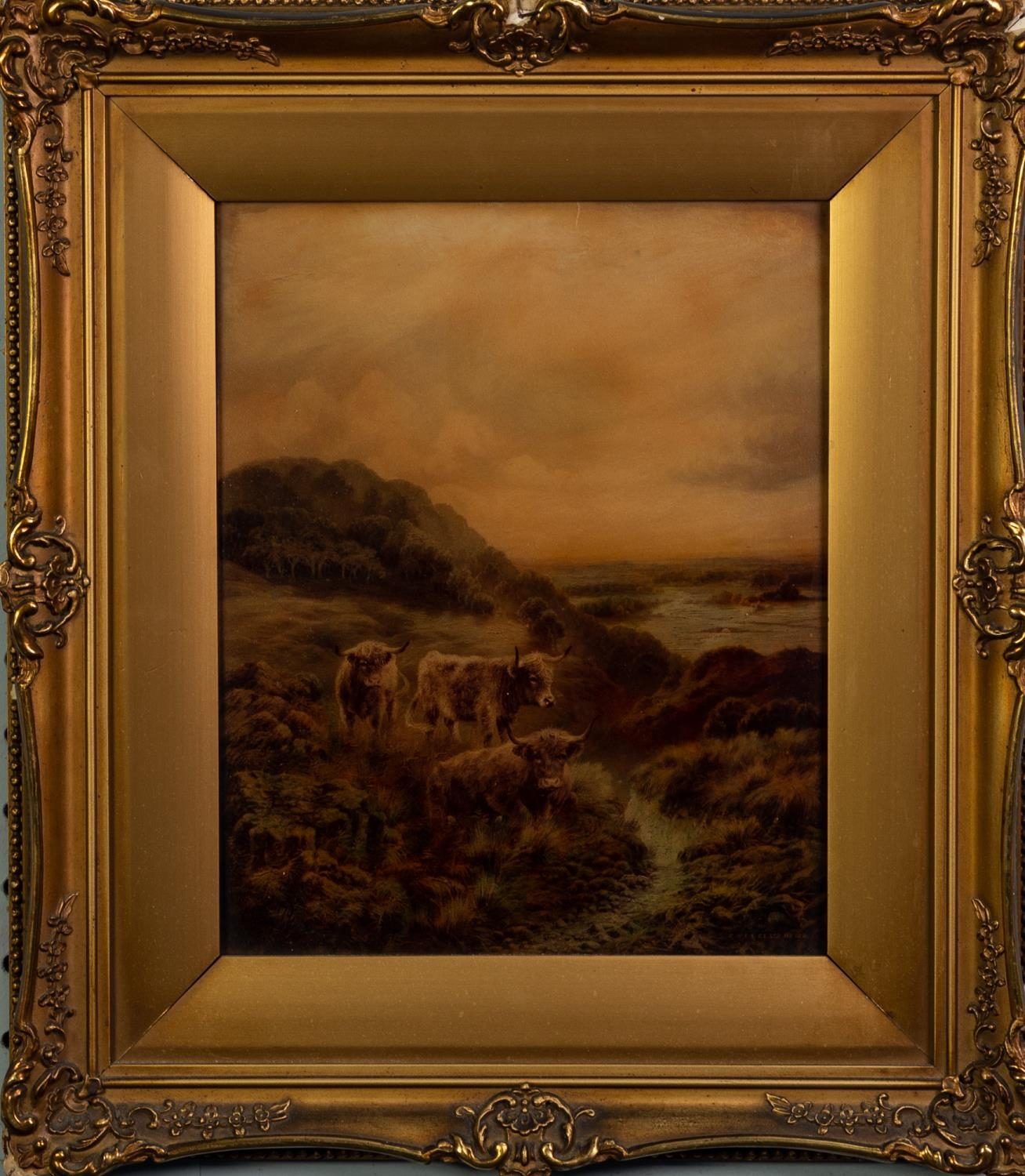 C.W.F. & Co Ltd, CRYSTOLEUM, No. 122 Highland cattle in a landscape 9 ¾? x 8? (24.7cm x 20.3cm) - Image 2 of 2