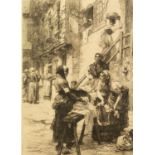 LEON L' HERMITTE (1844-1925) ETCHING Women washing clothes and gossiping in a courtyard Signed