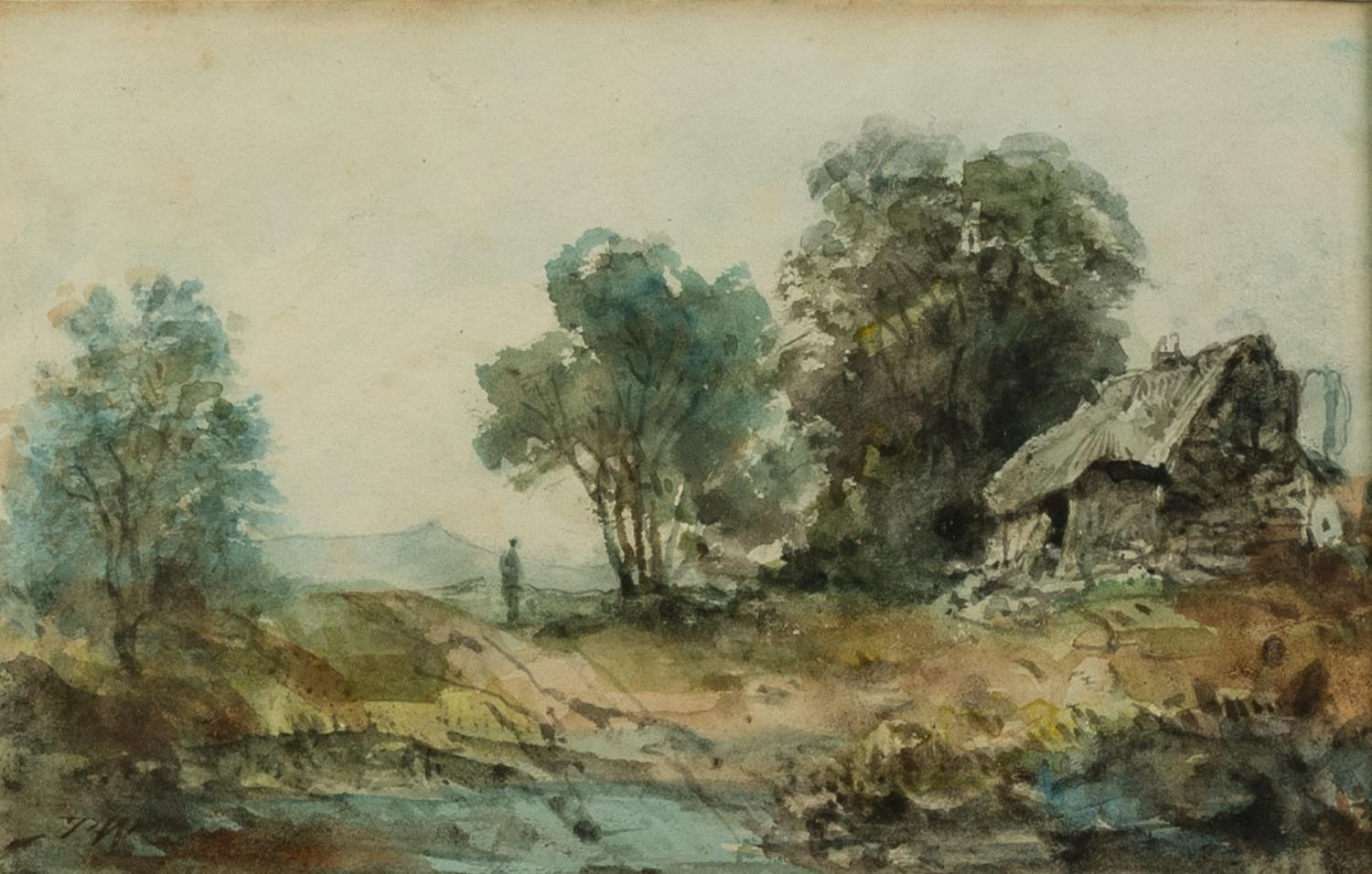 UNATTRIBUTED (NINETEENTH CENTURY) OIL PAINTING Rural landscape with farm building and a maid with - Image 2 of 4