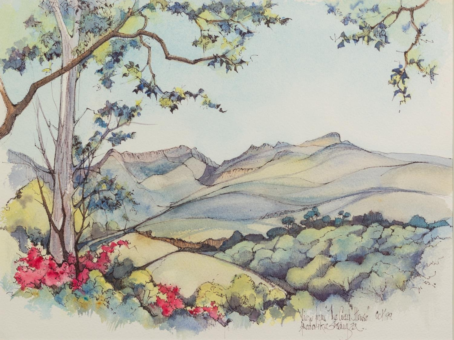 FREDERIKE STOKHUYZEN (b.1938) PEN AND WASH DRAWING ?View from the Coach House? Signed, titled and