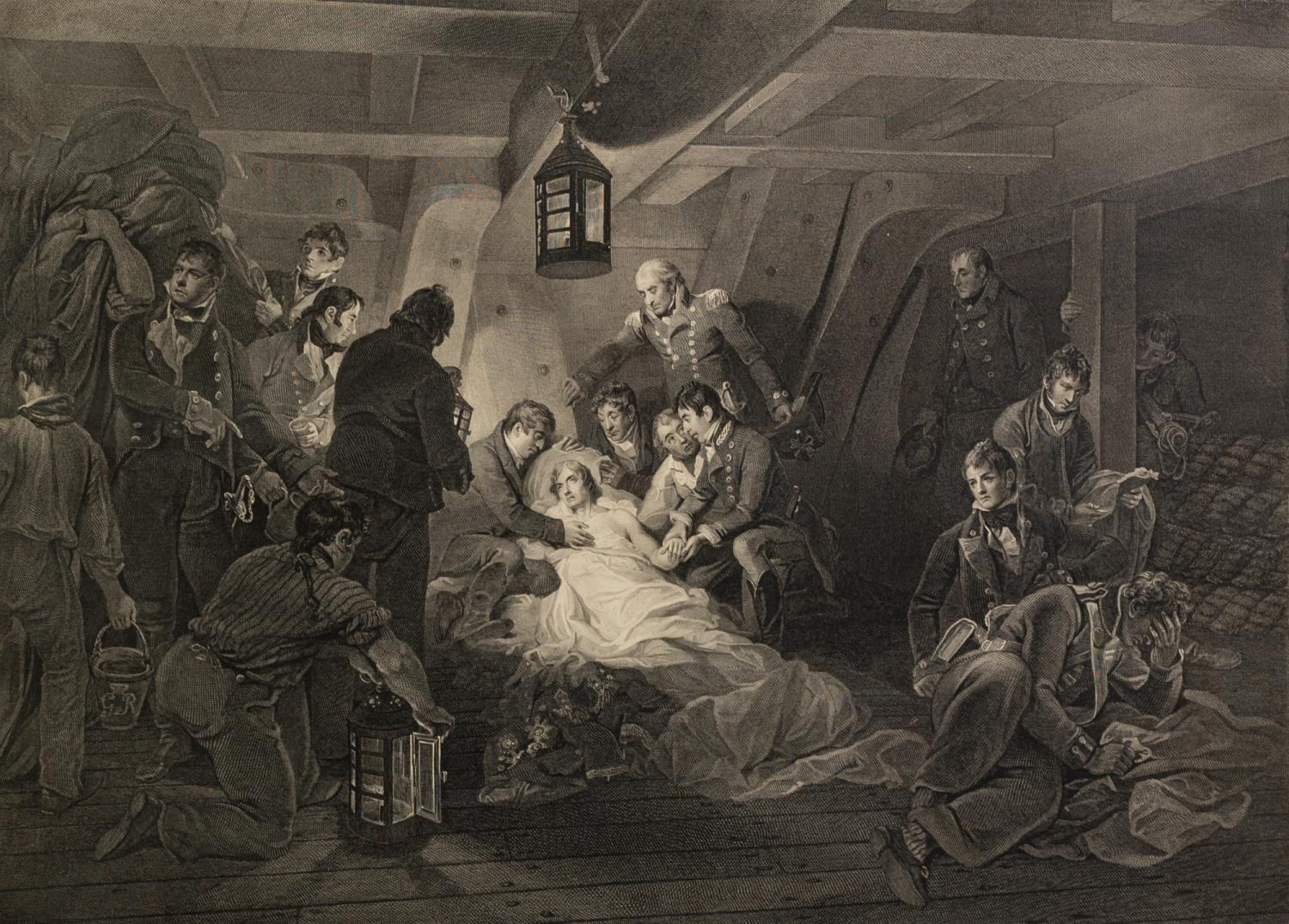 WILLIAM BROMLEY AFTER A.W. DAVIS ENGRAVING ?The Death of Horatio Viscount & Baron Nelson? 16 ½? x