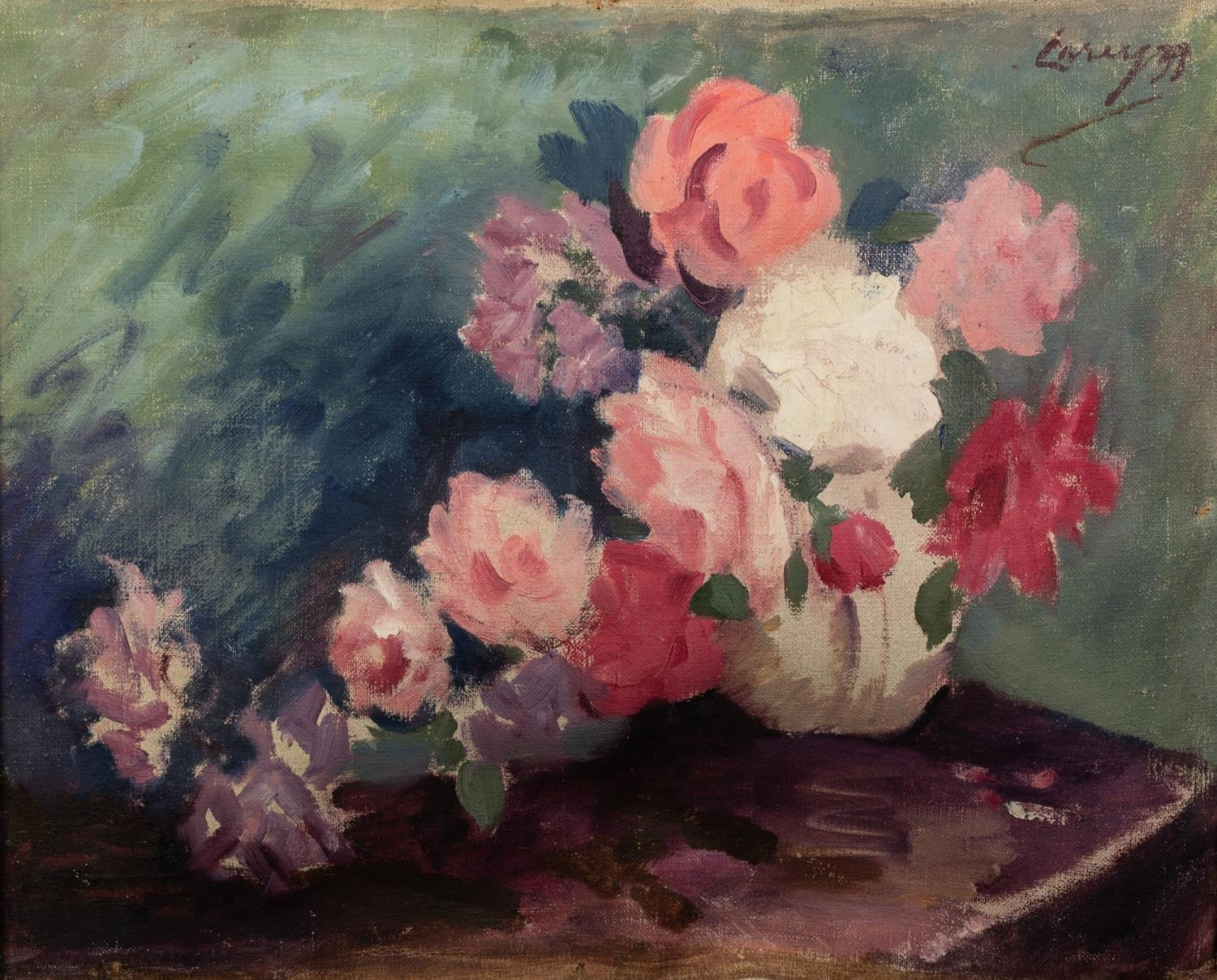 BRITISH SCHOOL (20th Century) OIL PAINTING ON CANVAS Study of roses in a vase Indistinctly signed