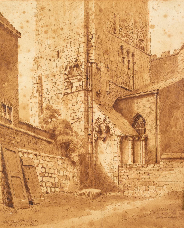 W. BRAITHWAITE (Twentieth Century) PEN AND BROWN INK DRAWING 'Holy Trinity Church, Micklegate,
