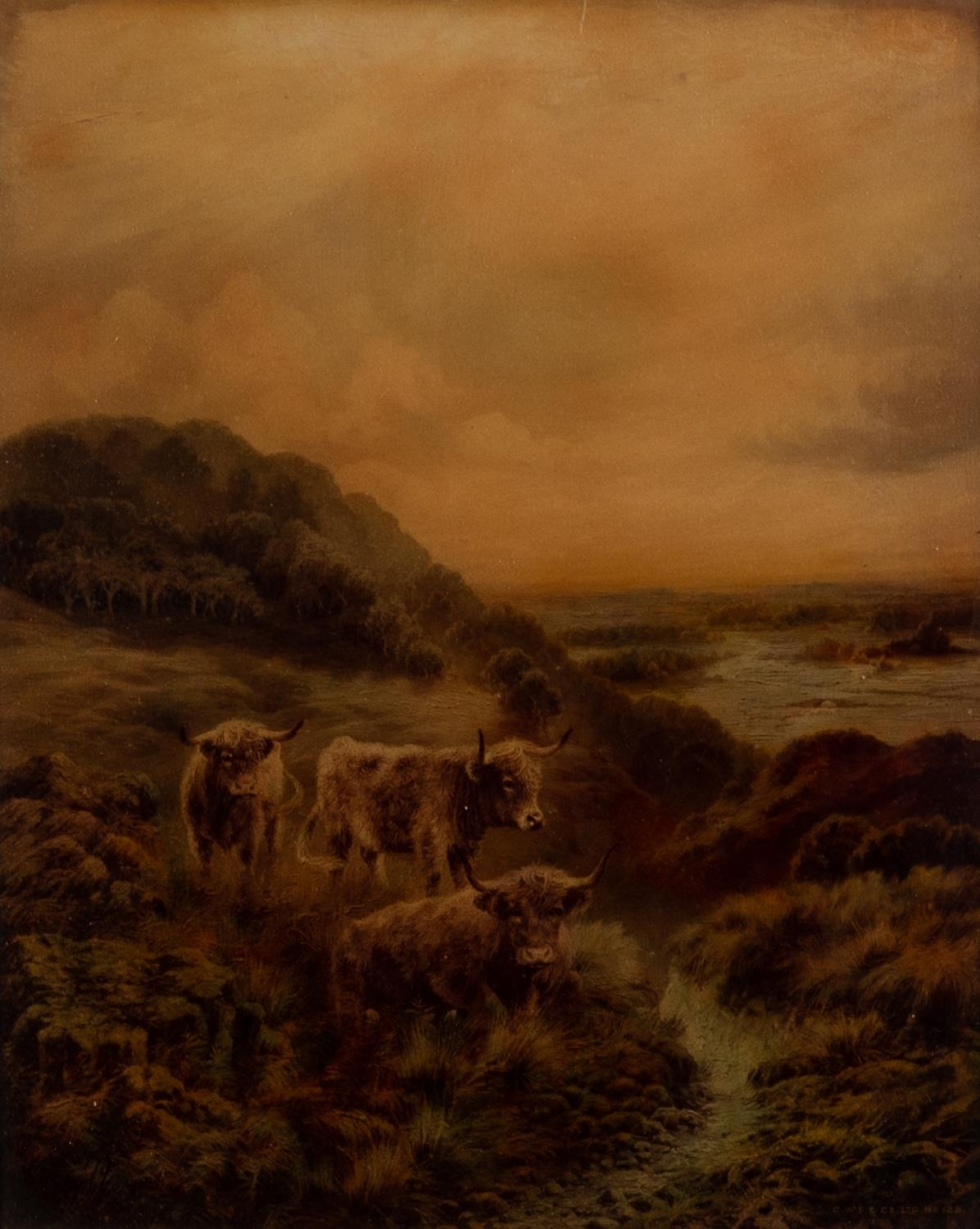 C.W.F. & Co Ltd, CRYSTOLEUM, No. 122 Highland cattle in a landscape 9 ¾? x 8? (24.7cm x 20.3cm)