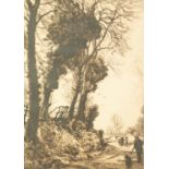 """JOSEPHKNIGHT (1837-1909) ETCHING Country lane with figure, dog and cows Signed in pencil 12"""""""