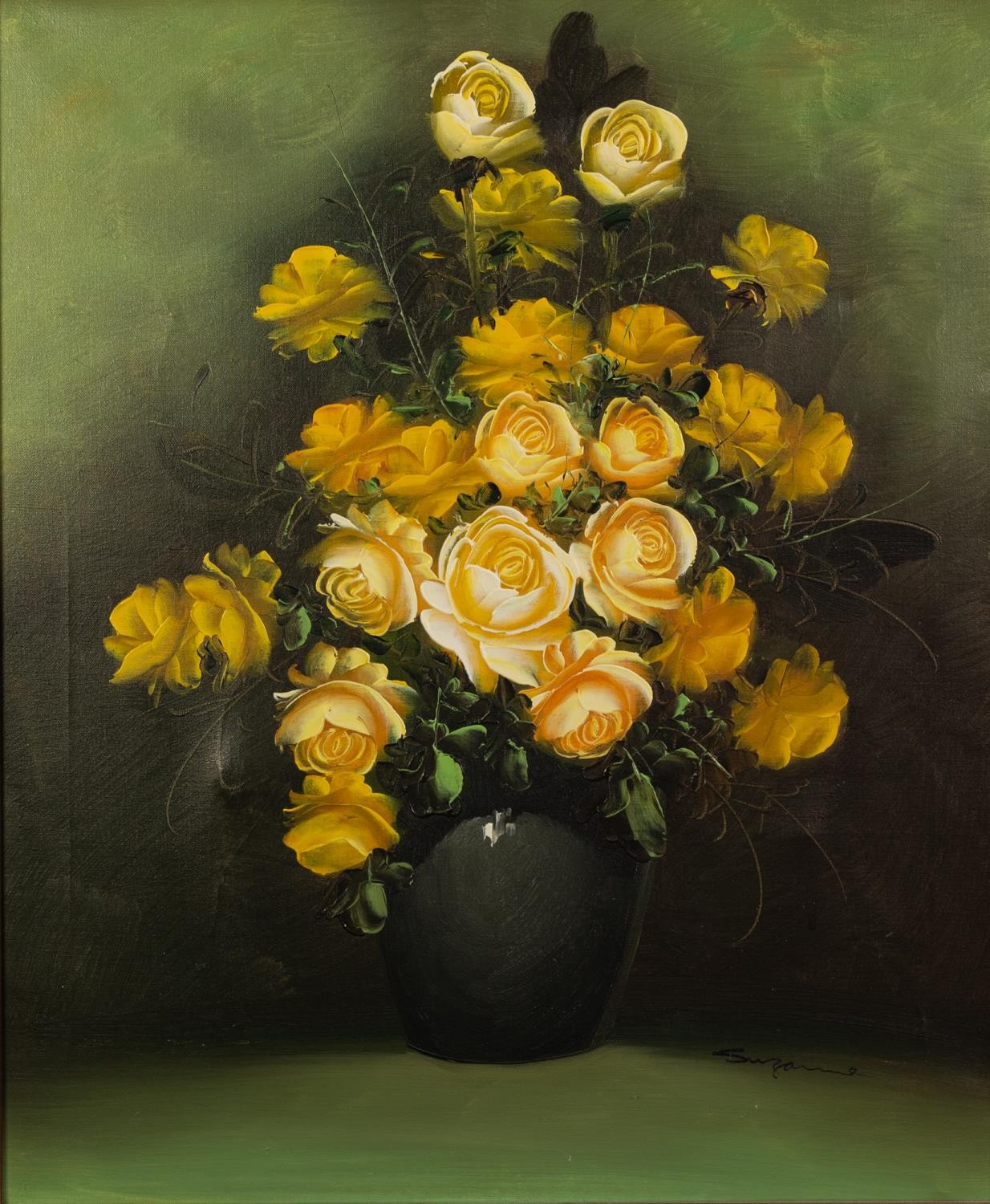 SUZANNE (MODERN) OIL ON CANVAS Vase of yellow roses Signed 24in x 19 1/2in (61 x 49.5cm) - Image 2 of 2