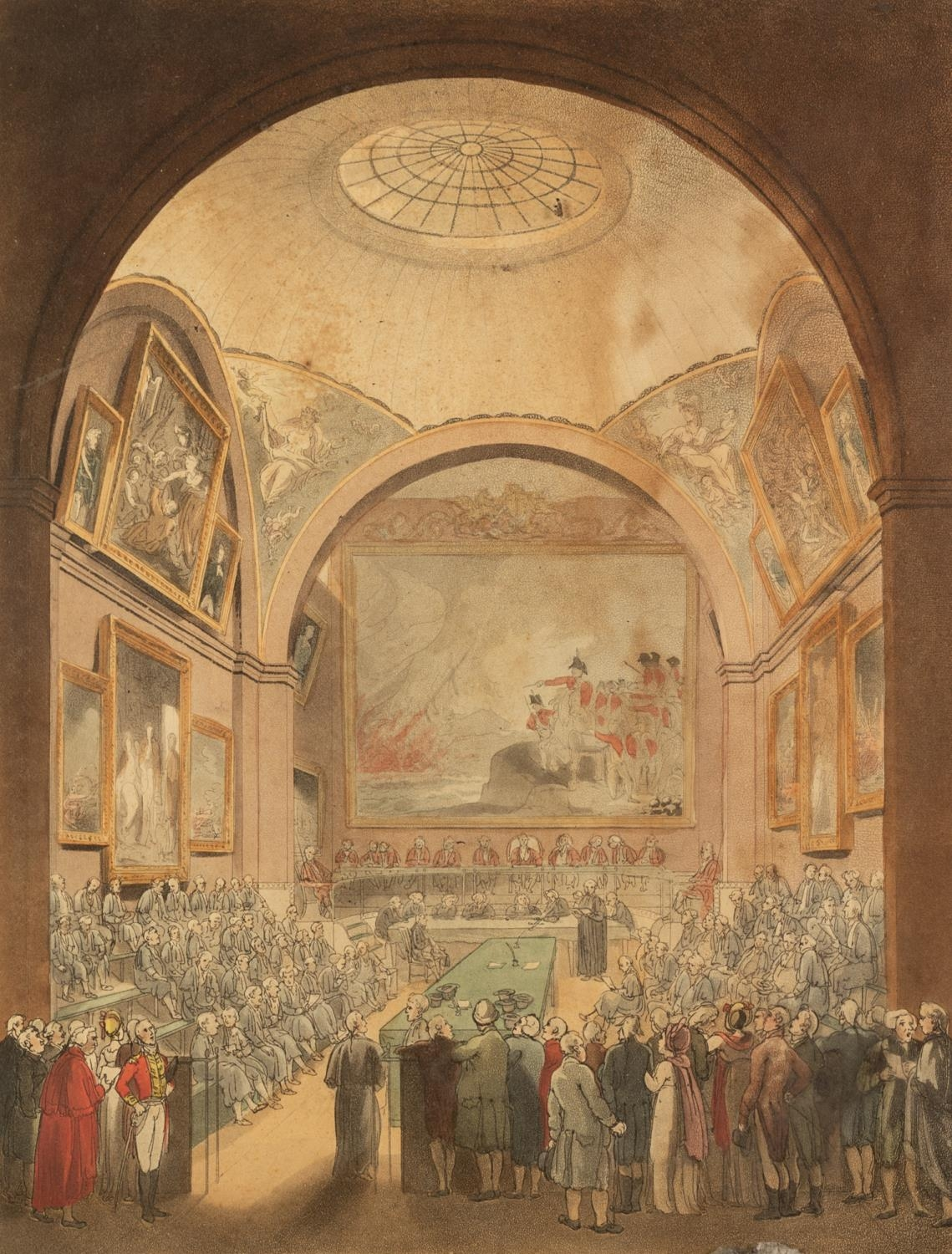 J. BLUCK AFTER ROWLANDSON AND PUGIN HAND COLOURED AQUATINT 'Common Council Chamber, Guildhall'