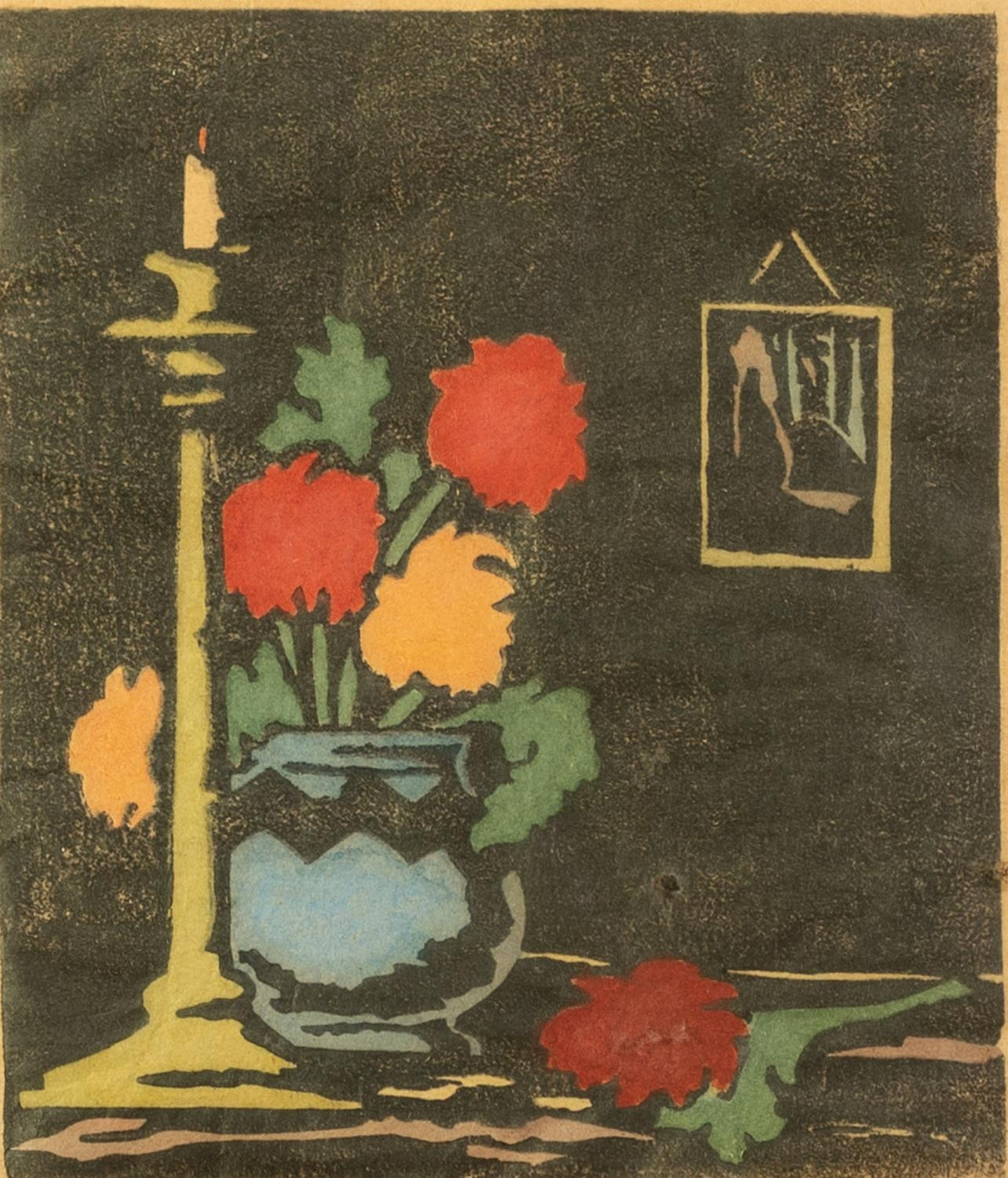 MURIAL A. NOBLE HAND COLOURED WOODBLOCK PRINT Still life with flowers in a vase Signed and dated
