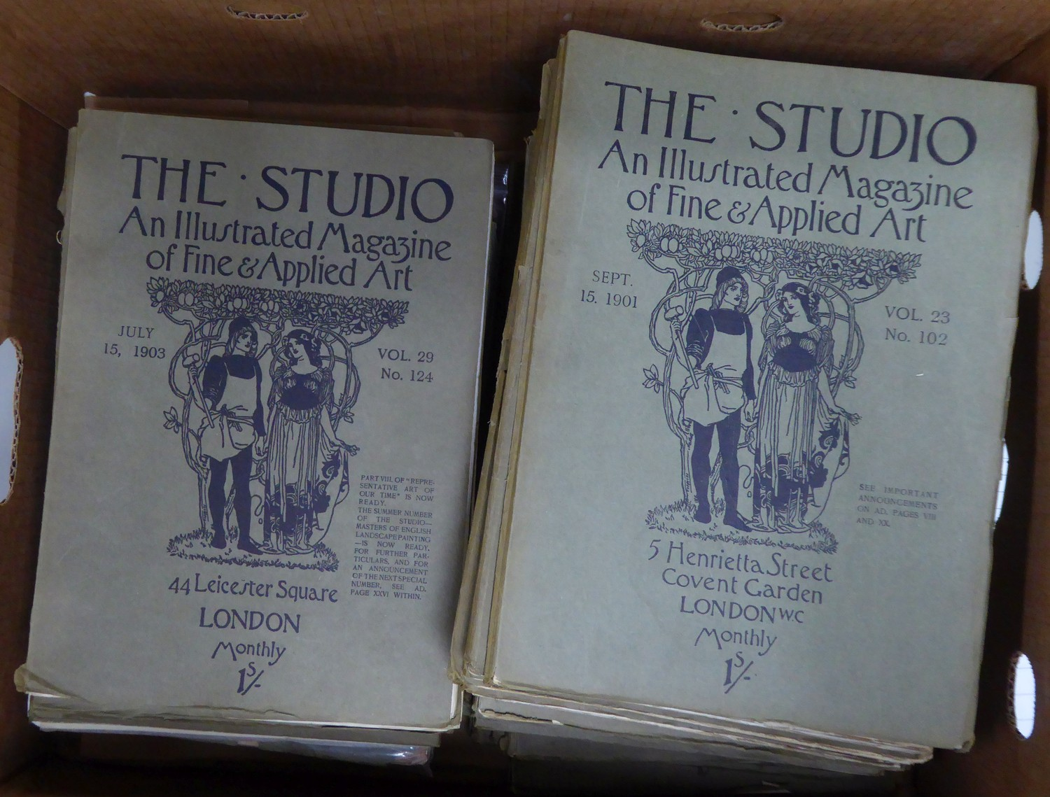 A large quantity of The Studio, An Illustrated Magazine of Fine & Applied Art, all in original
