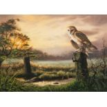 ADRIAN C. RIGBY (b.1962) WATERCOLOUR Sunset lake scene with barn owl in the foreground Signed
