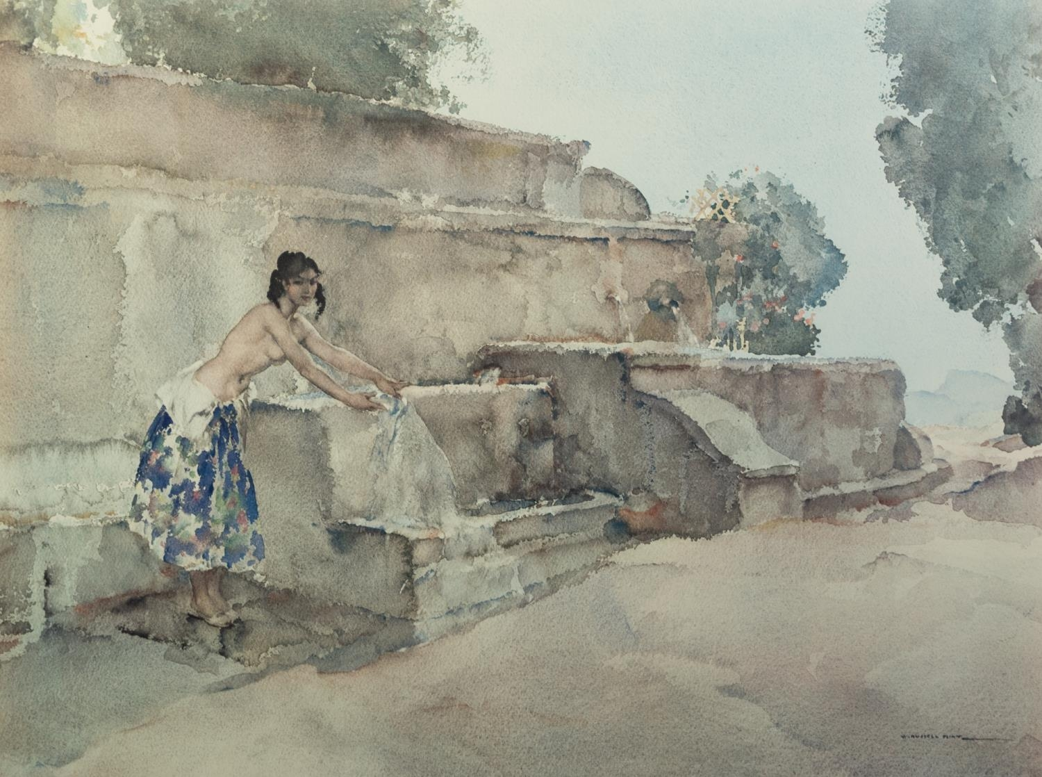 W. RUSSELL FLINT ARTIST SIGNED COLOUR PRINT Semi-clad female figure at a washing well Guild blind