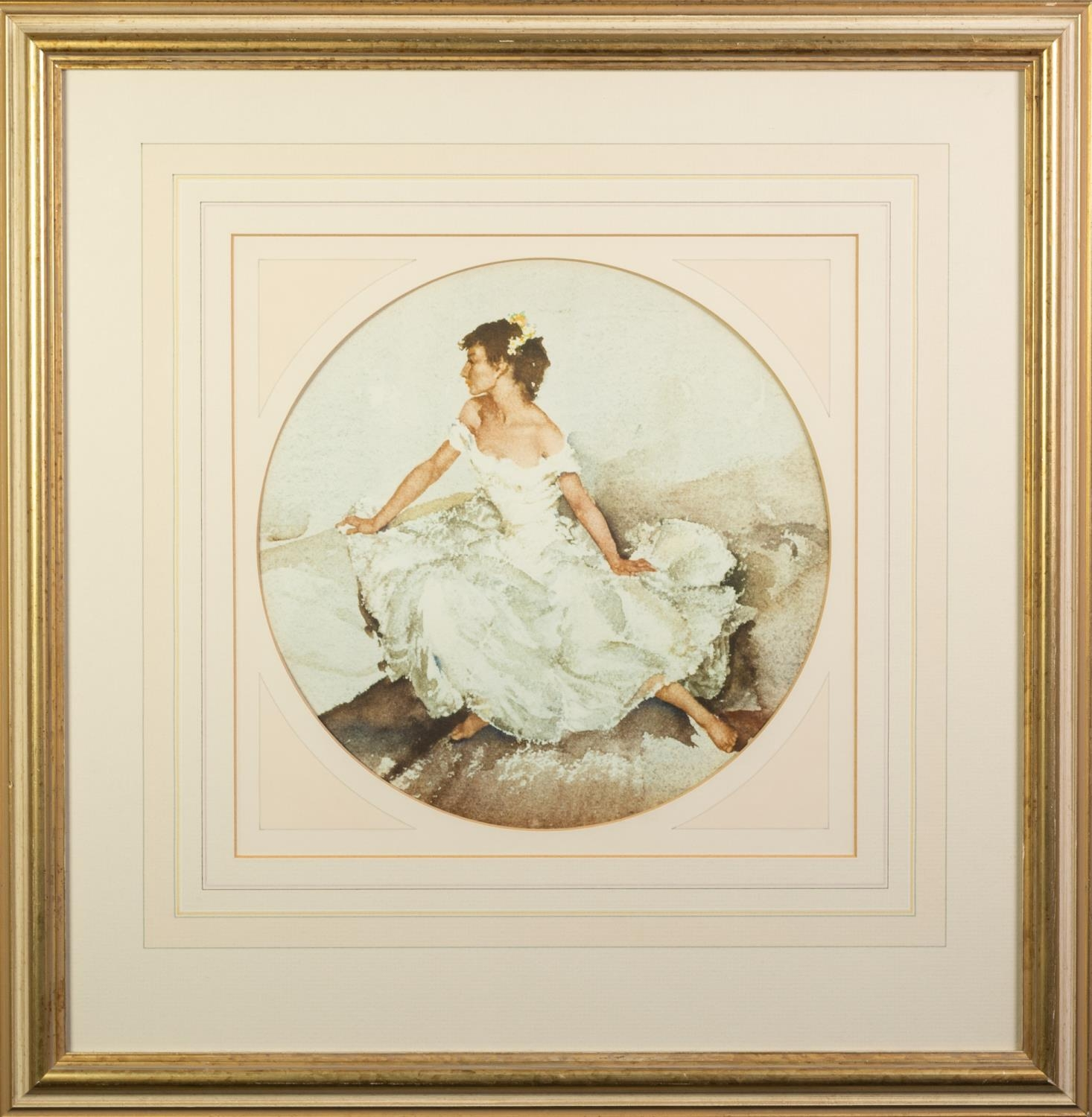 W. RUSSELL FLINT ARTIST SIGNED COLOUR PRINT Semi-clad female figure at a washing well Guild blind - Image 4 of 6