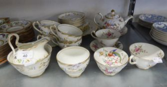 NEW CHELSEA CHINA PART TEA SERVICE, ORIGINALLY FOR SIX PERSONS, 20 PIECES, WITH PAINTED AND GILT