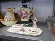 A PAIR OF CROWN STAFFORDSHIRE TWO HANDLED VASES AND A COALPORT CHINA DRESSING TABLE SET OF 6