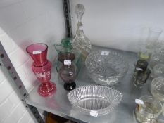 CUT GLASS DECANTER AND STOPPER, ANOTHER GREEN GLASS DECANTER, SQUARE SHAPED HAVING HANDLE AND