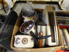 SWAN TOASTER; STAINLESS STEEL ELECTRIC COFFEE POT; WHITE PLASTIC JUG KETTLE AND FOOD PROCESSOR ETC..