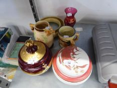 MURANO GLASS JAR AND COVER, RUBY AND GILT WITH FLORAL DECORATION, CRANBERRY GLASS VASE AND FOUR