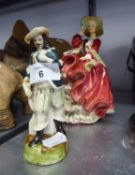 ROYAL DOULTON CHINA CRINOLINE FIGURE, ?TOP O? THE HILL?, HN 1834 AND A CONTINENTAL CHINA FIGURINE OF