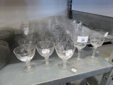 A QUANTITY OF CUT AND ENGRAVED STEM WINES, VARIOUS, (APPROXIMATELY 35)