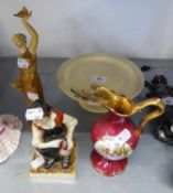 ROYAL WORCESTER CHINA CLASSICAL FEMALE FIGURE, WEARING A LONG GOLD ROBE AND HOLDING UP A DOVE OF