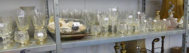 A QUANTITY OF CUT GLASS WINE GLASSES AND TUMBLERS, VARIOUS