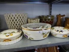 A LARGE POTTERY JARDINIERE, AND VARIOUS POTTERY JARDINIERES ETC.. AND ITEMS OF ROYAL WORCESTER