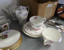 SHELLEY CHINA ?CHARM? PATTERN (137523) TEA-FOR-TWO TEA SERVICE OF SEVEN PIECES, DECORATED WITH