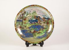 A 1930's A.G.H. JONES AND CO., WILTON WARE LUSTRE DECORATED POTTERY SHALLOW BOWL, with turned-in