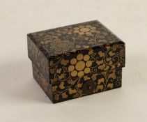JAPANESE MEIJI PERIOD SMALL BLACK LACQUERED AND GILT PAINTED SMALL BOX AND COVER, with gilt metal