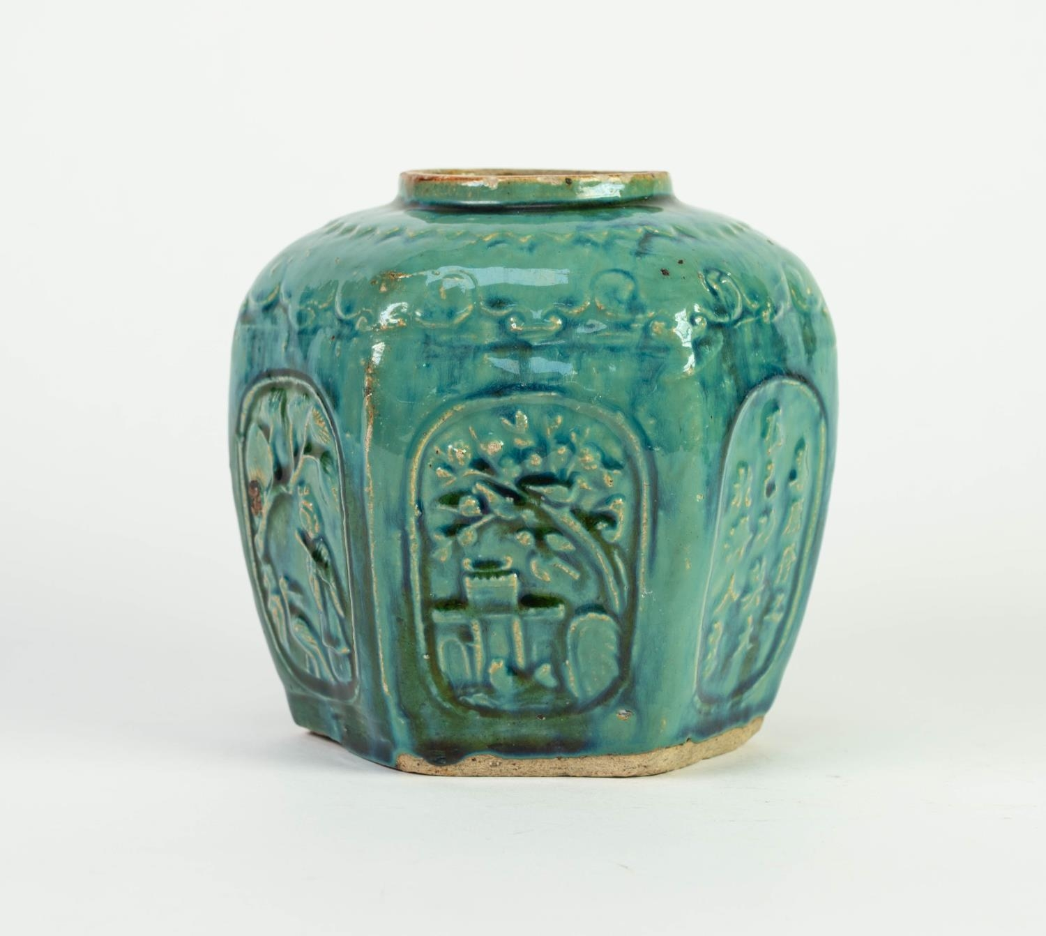 CHINESE PROVINCIAL WARE MOULDED POTTERY GINGER JAR, of hexagonal form, decorated with panels