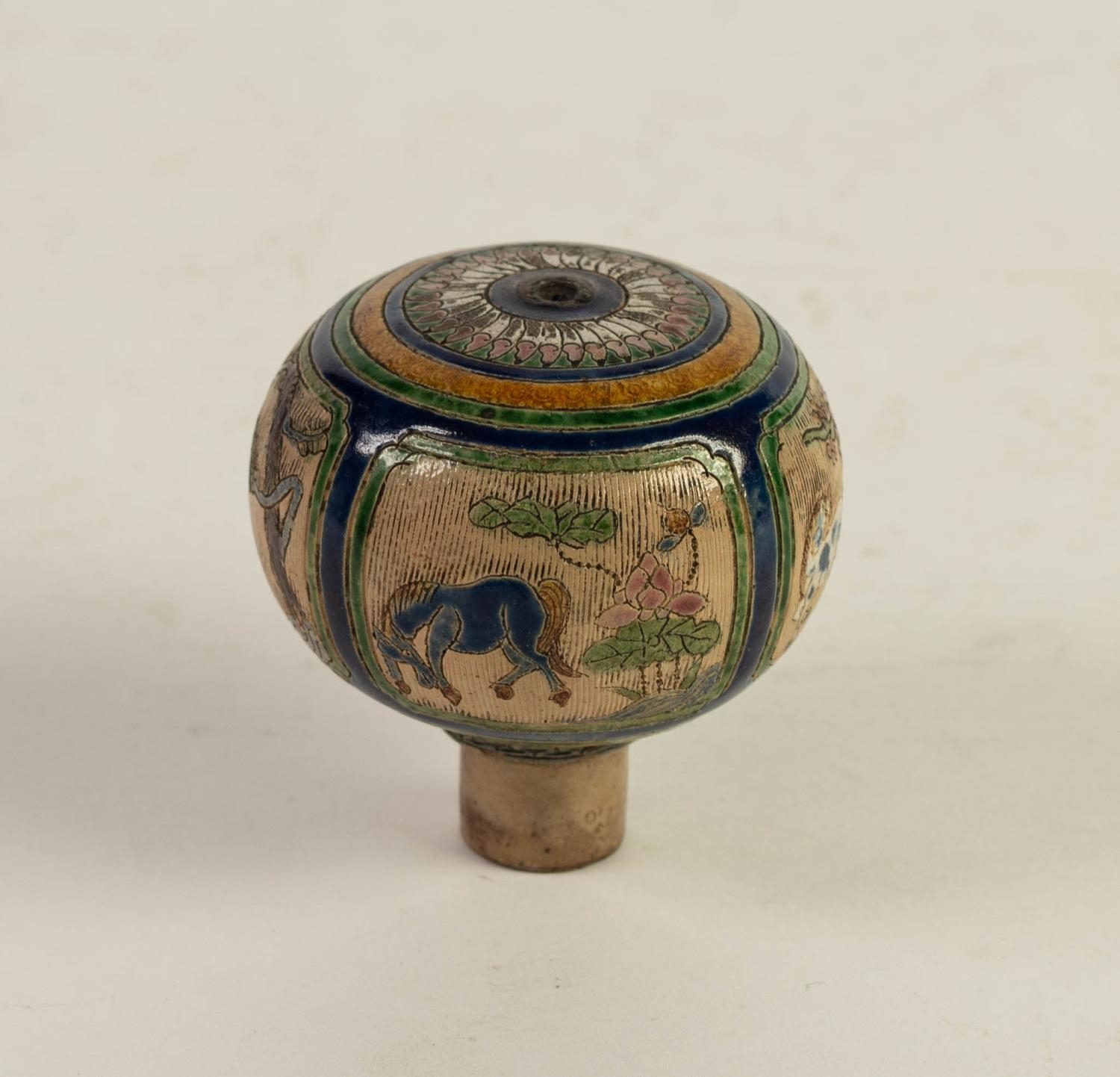 CHINESE QING DYNASTY PORCELANEOUS ORBICULAR KNOB OR FINIAL, incised and enamelled with four panels