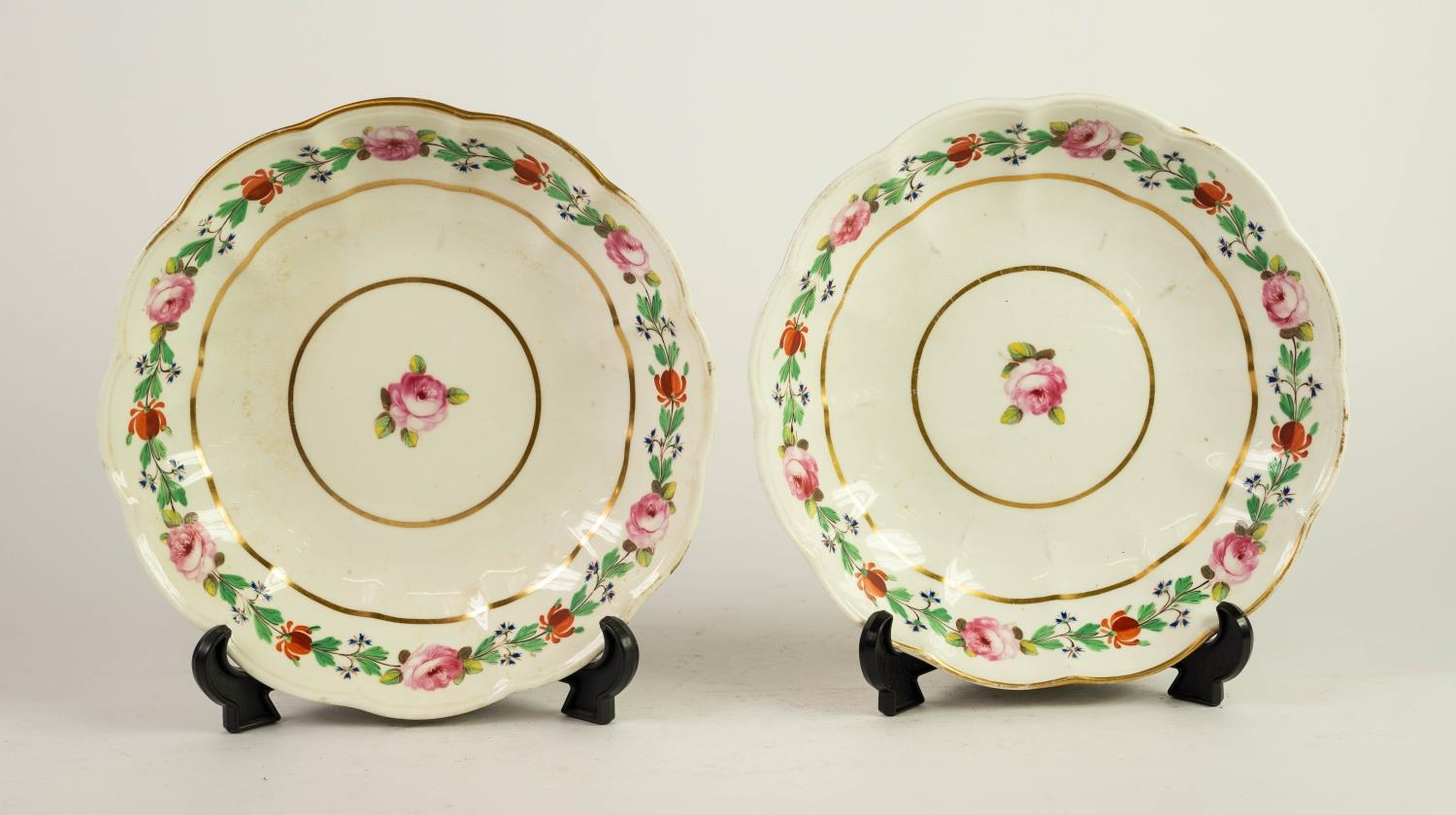 PAIR OF NINETEENTH CENTURY DERBY PORCELAIN DESSERT DISHES, each with lobated rim and floral