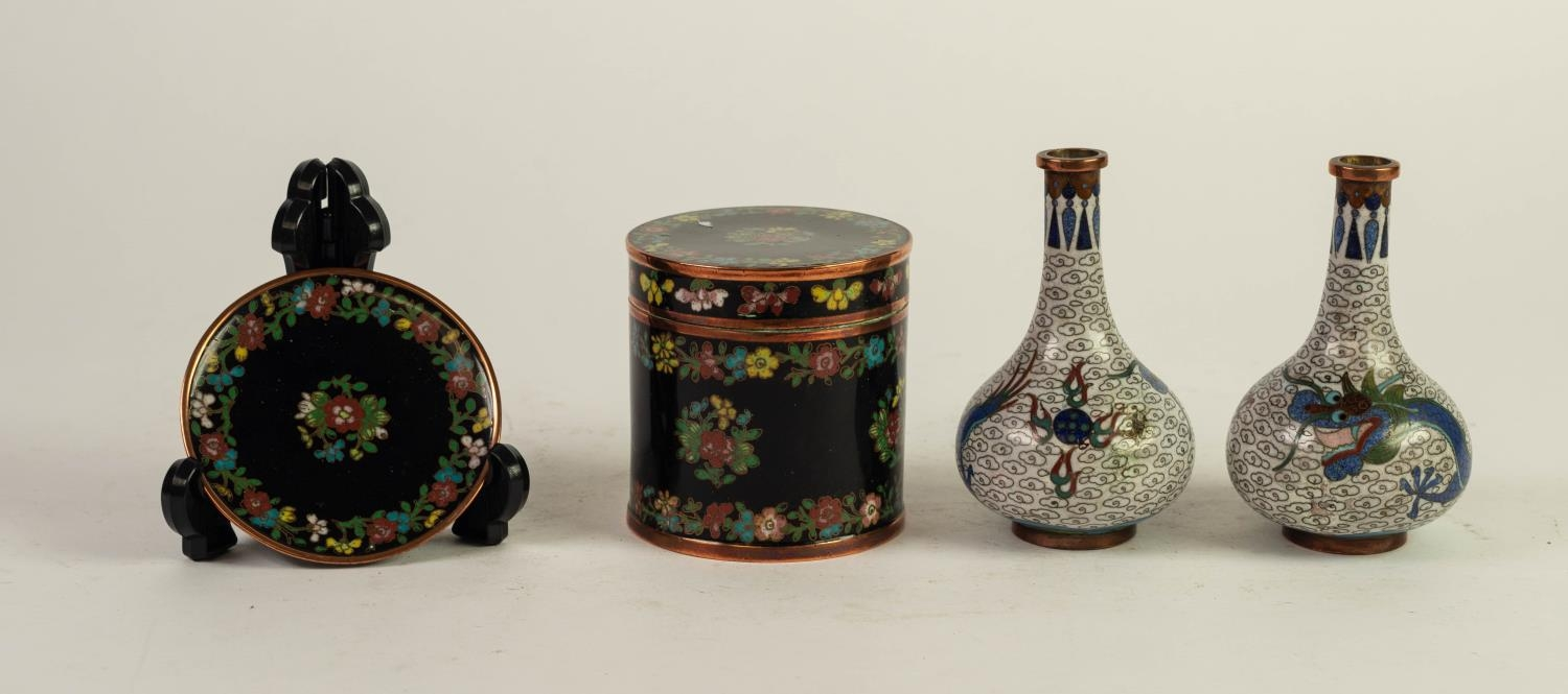 FOUR SMALL PIECES OF CLOISONNÉ?, comprising: PAIR OF BOTTLE VASES, decorated with dragons and