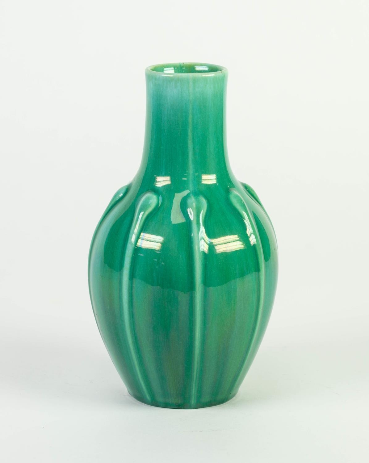 PILKINGTONS GREEN VEINED OPALESCENT GLAZED MOULDED POTTERY VASE, of ovoid form with slightly - Image 2 of 3