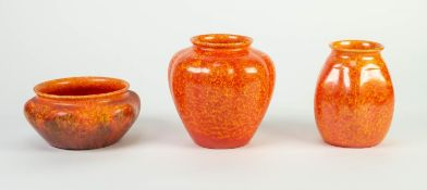 THREE SMALL PIECES OF ROYAL LANCASTRIAN ORANGE VERMILLION GLAZED LOBATED POTTERY, comprising: