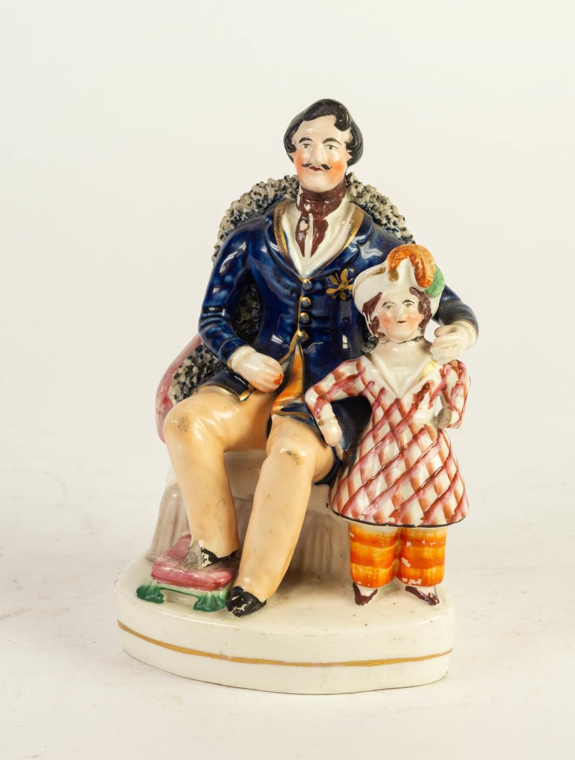 NINETEENTH CENTURY STAFFORDSHIRE GROUP OF PRINCE ALBERT AND ONE OF HIS DAUGHTERS, painted in colours