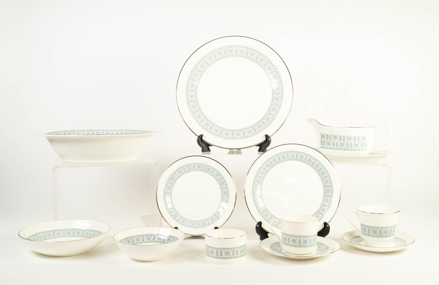 SIXTY FOUR PIECE ROYAL DOULTON COUNTERPOINT PATTERN CHINA PART DINNER, TEA AND COFFEE SERVICE, NOW