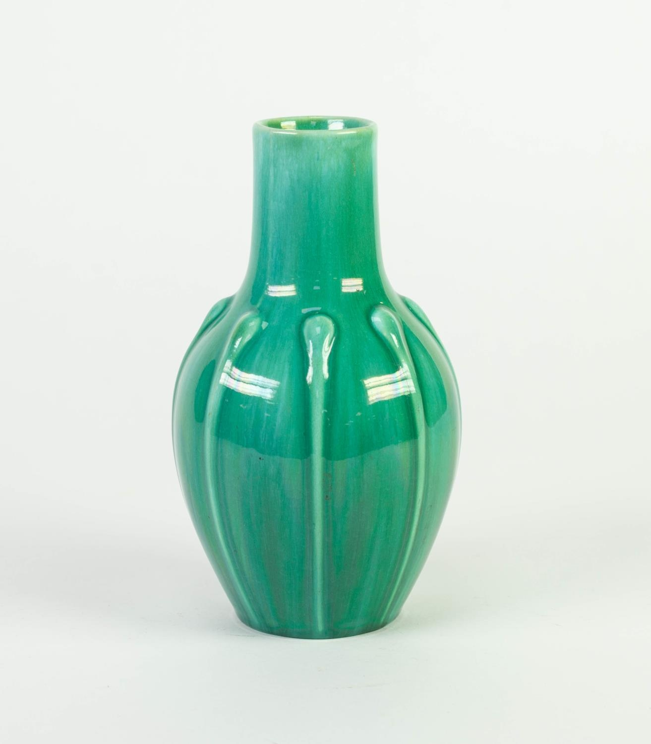 PILKINGTONS GREEN VEINED OPALESCENT GLAZED MOULDED POTTERY VASE, of ovoid form with slightly