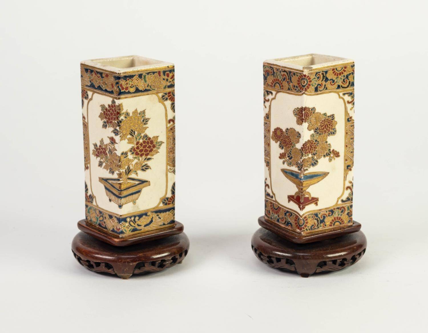PAIR OF JAPANESE MEIJI PERIOD SATSUMA POTTERY SQUARE SECTION SMALL VASES, each painted with