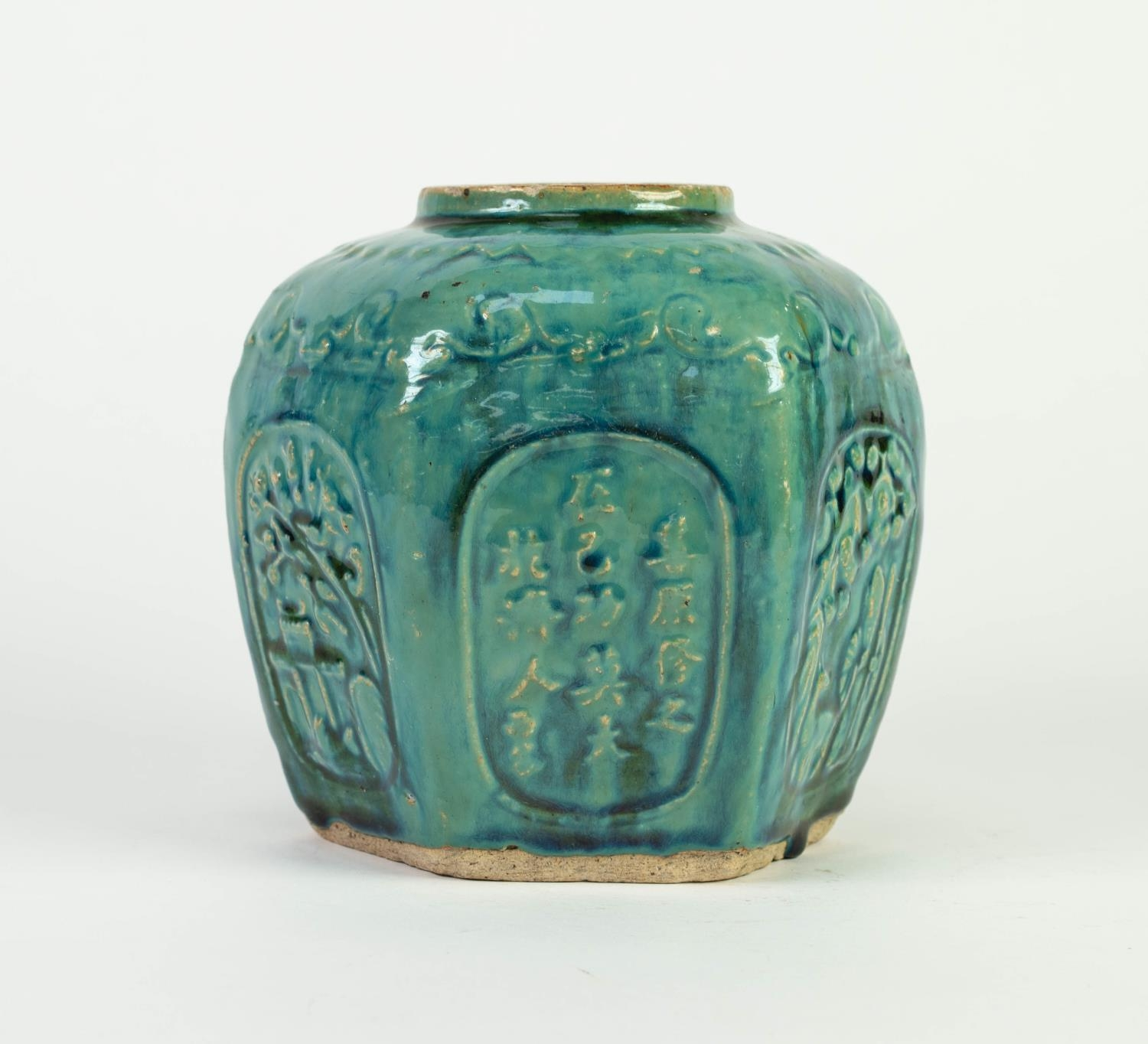 CHINESE PROVINCIAL WARE MOULDED POTTERY GINGER JAR, of hexagonal form, decorated with panels - Image 4 of 5