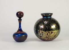 MODERN IRIDESCENT STUDIO GLASS VASE, of orbicular form 6 ¼? (15.9cm) high, together with a SIMILAR